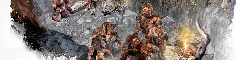Enterramiento dela cueva de la descubierta en el Parque Arqueológico del Valle de los Neandertales. Ilustración Yolanda Gonzalez