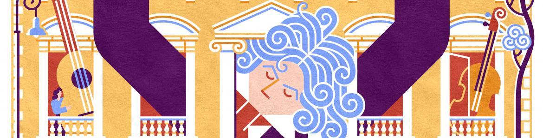 Ilustración conciertos sobre Mozart en Bienvenidos a Palacio 2020