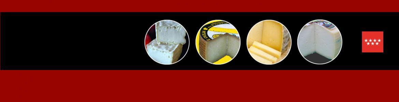 Círculos con fotografías de quesos y escudo de la Comunidad de Madrid sobre fondo negro y rojo