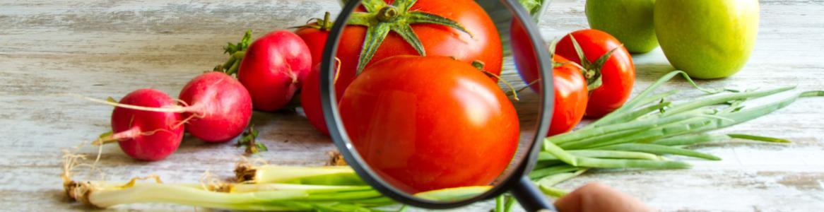 Vegetales y una lupa que los amplia