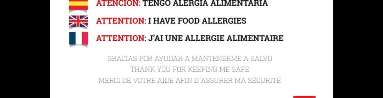 Portada de la tarjeta de alergias, donde aparecen los datos a cumplimentar