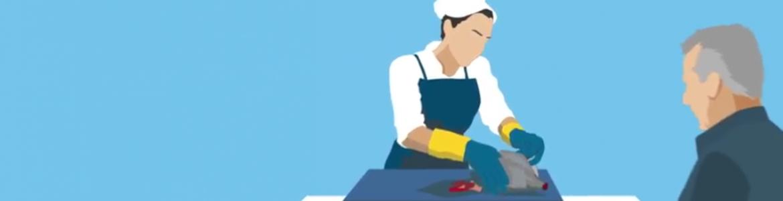 """Imagen del vídeo de AECOSAN """"Comer pescado es sano y saludable. La Anisakiasis es fácil de evitar"""""""