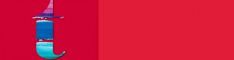 Fondo rojo con una letra t minúscula en azul
