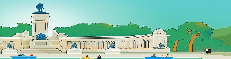 Dibujo del estanque del parque de El Retiro