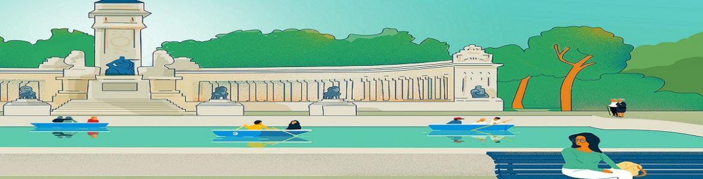 Dibujo del lago del Parque del Retiro