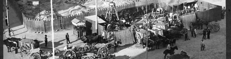 Imagen en blanco y negro de la construcción de la línea 1