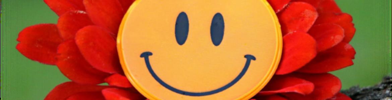 Flor tipo margarita con pétalos rojos y un emoticono de carita sonriente en el centro