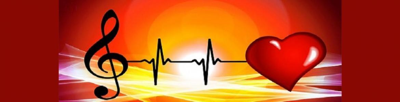 Clave de sol unida a electrocardiograma y a corazón