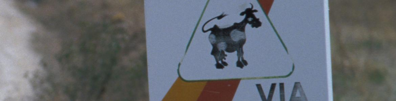 Cartel con una vaca dibujada