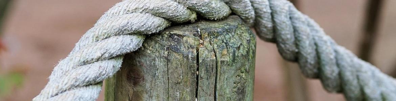 tronco con cuerda camino rural