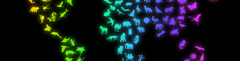 Mapa mundo dibujos especies animales
