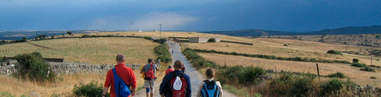 Peregrinos en el Camino de Santiago entre Tres Cantos y Colmenar Viejo