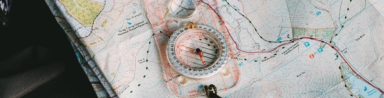 Brújula, mapa