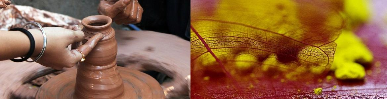 Figura de barro y colores rojo amarillo
