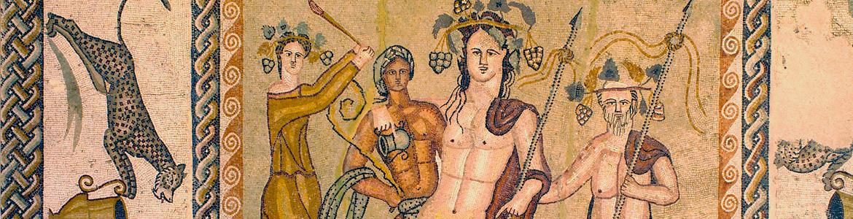 Emblema del mosaico del triclinium de la casa de Baco.