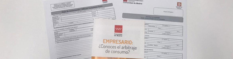 Hojas de reclamaciones, solicitud de arbitraje y folleto