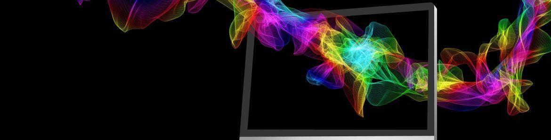 Pantalla de ordenador atravesado por espiral de colores