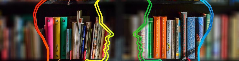 libros y siluetas de caras