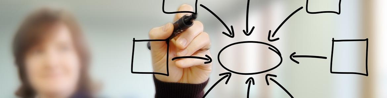Diagrama de flujo pintado sobre una pizarra transparente simbolizando la incorporación de profesores a la función pública