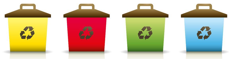 Imagen de contenedores con símbolos de reciclaje