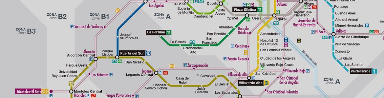 Imagen de detalle de un plano esquemático de la red de Metro, Metro Ligero y Cercanías de la Comunidad de Madrid