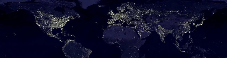 Mapa del mundo oscuro, en el que se destacan las zonas del mundo iluminadas