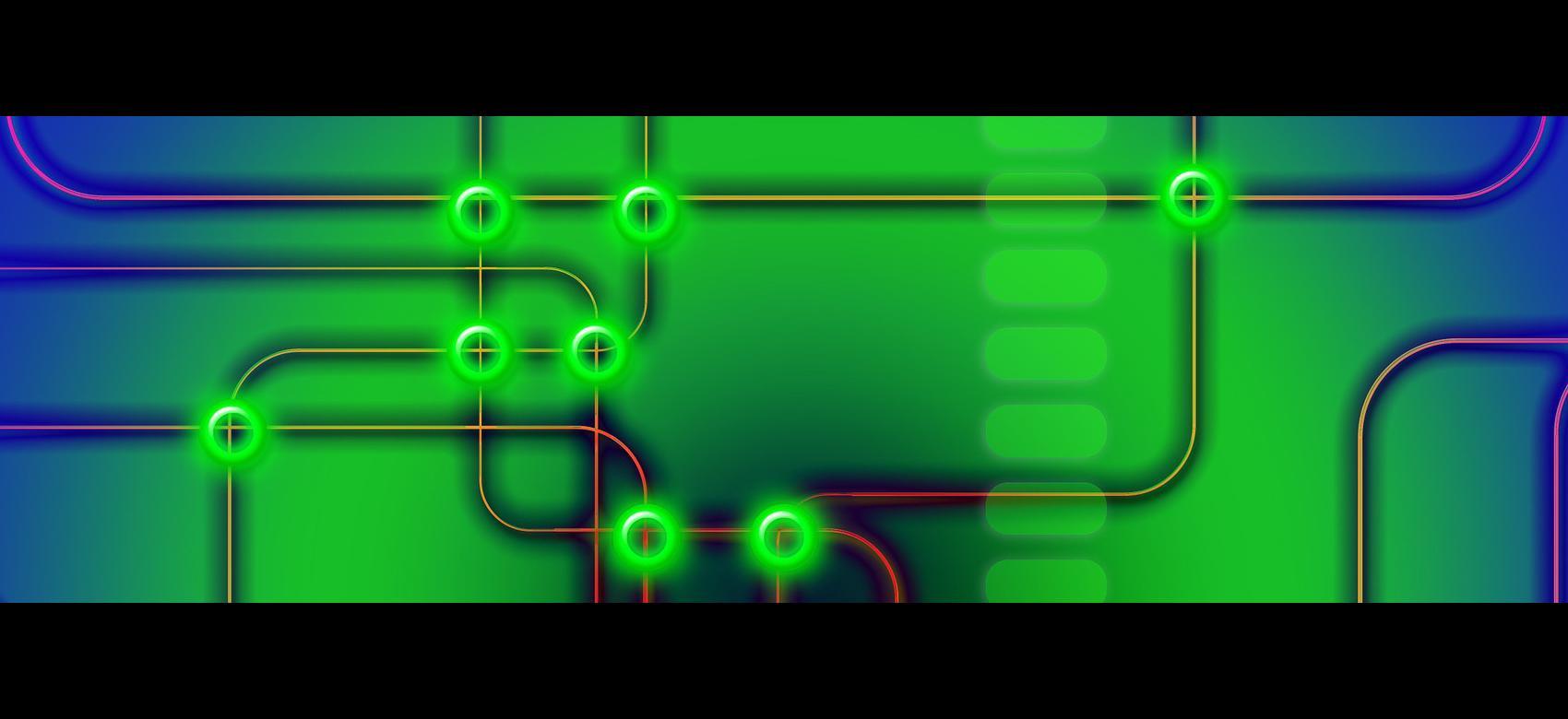 Representación de una red con los puntos de intersección resaltados