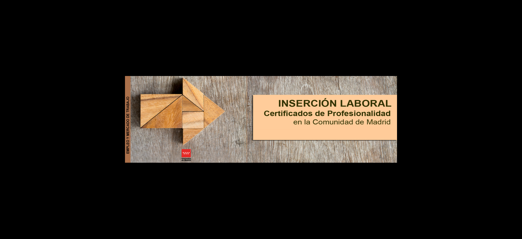 flecha de madera que apunta al título de certificados de profesionalidad