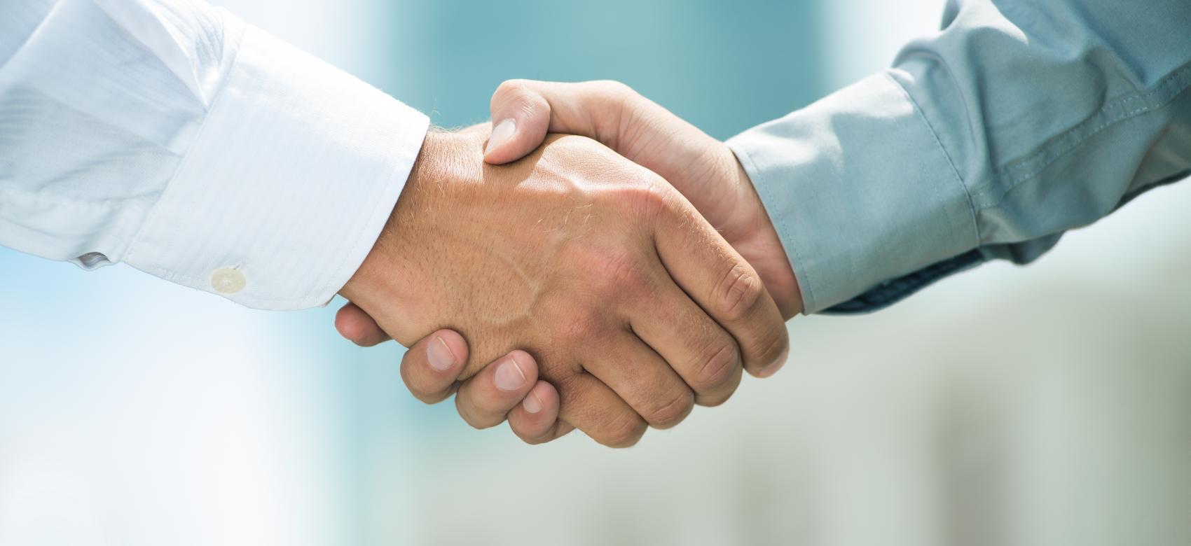 manos estrechadas en saludo