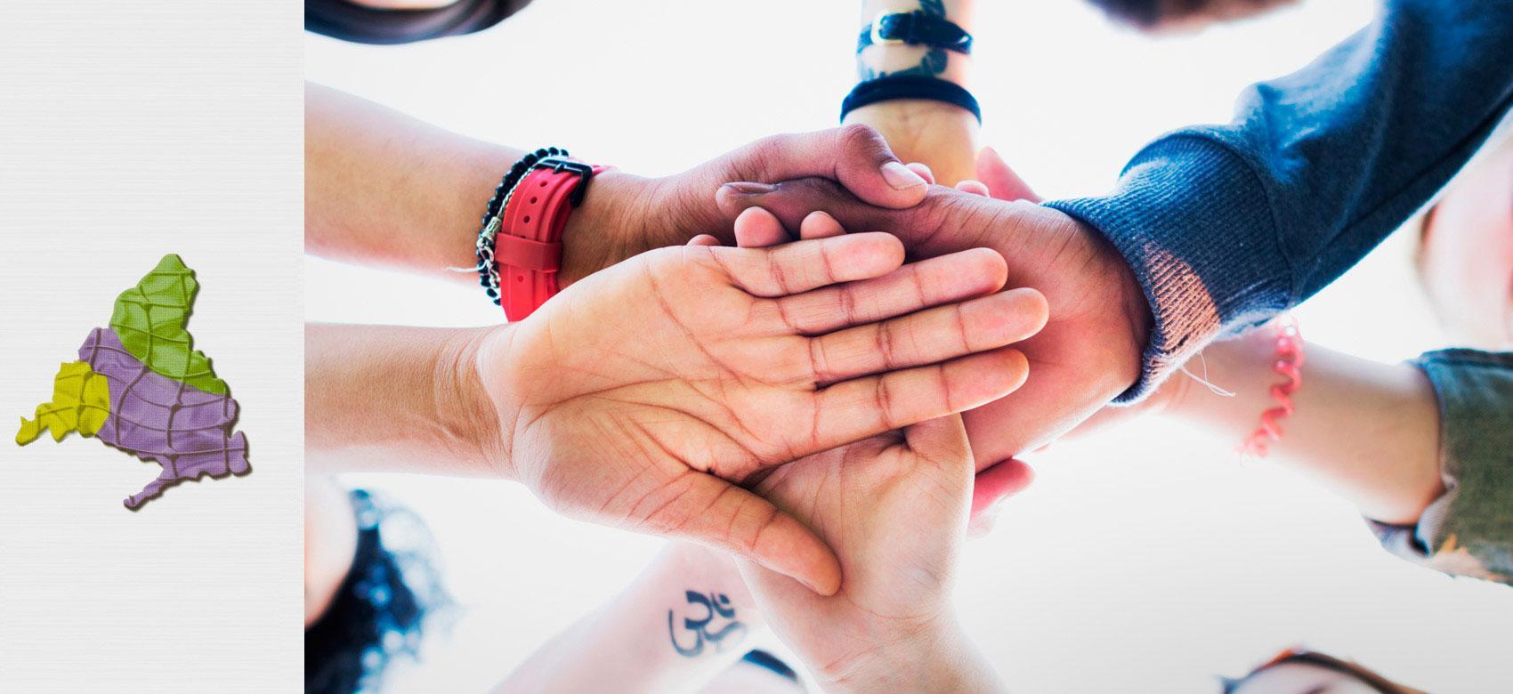 Imagen ilustrativa de manos enlazadas y logotipo de la red de atención social a personas con enfermedad mental