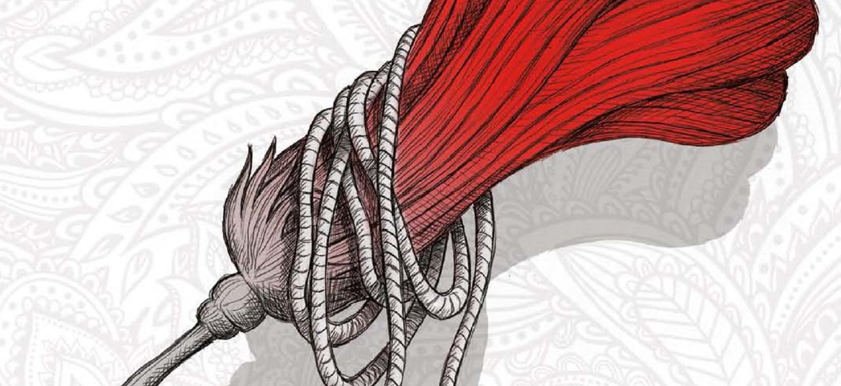 Dibujo de un plumero rojo con cuerda
