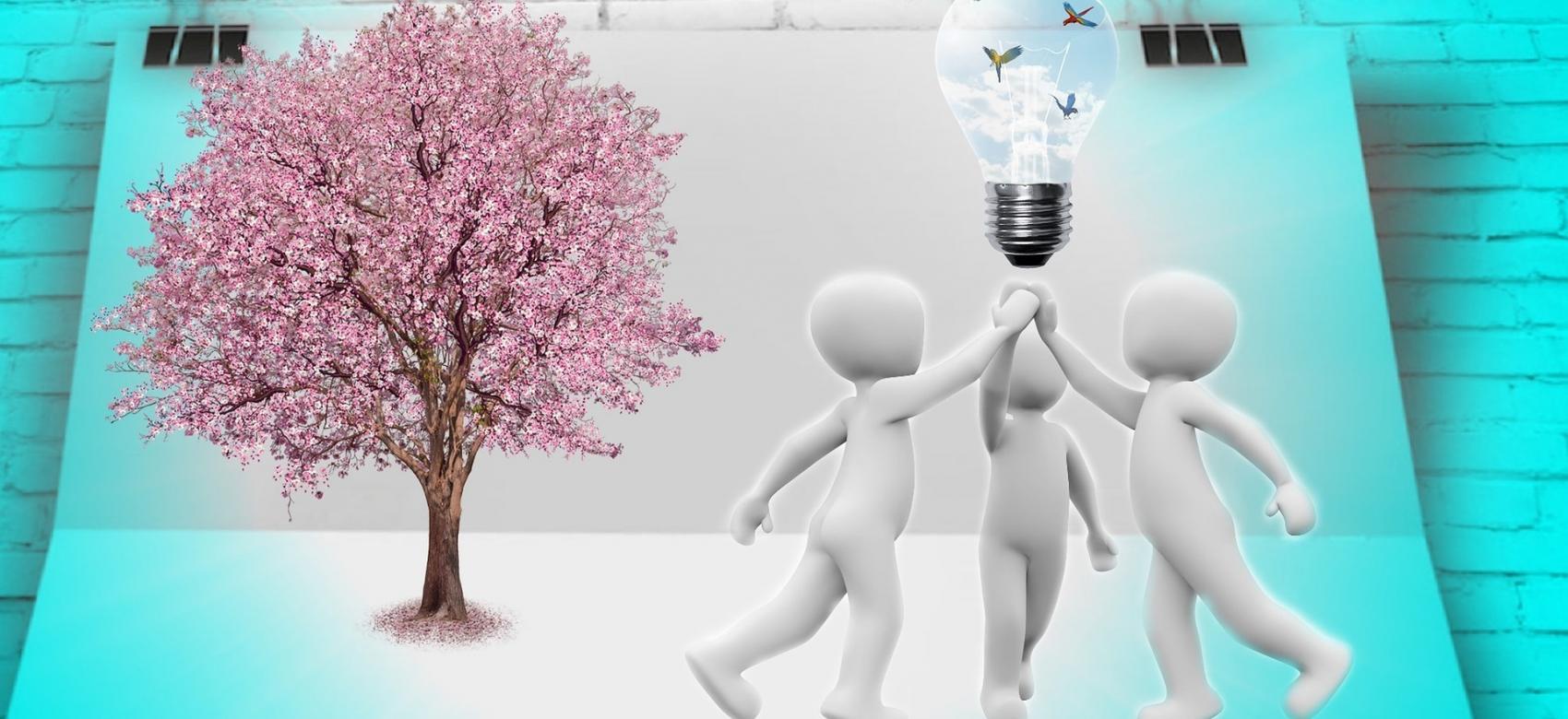 Grupo de tres figuras sin rostro unidos bajo una bombilla que simboliza una idea
