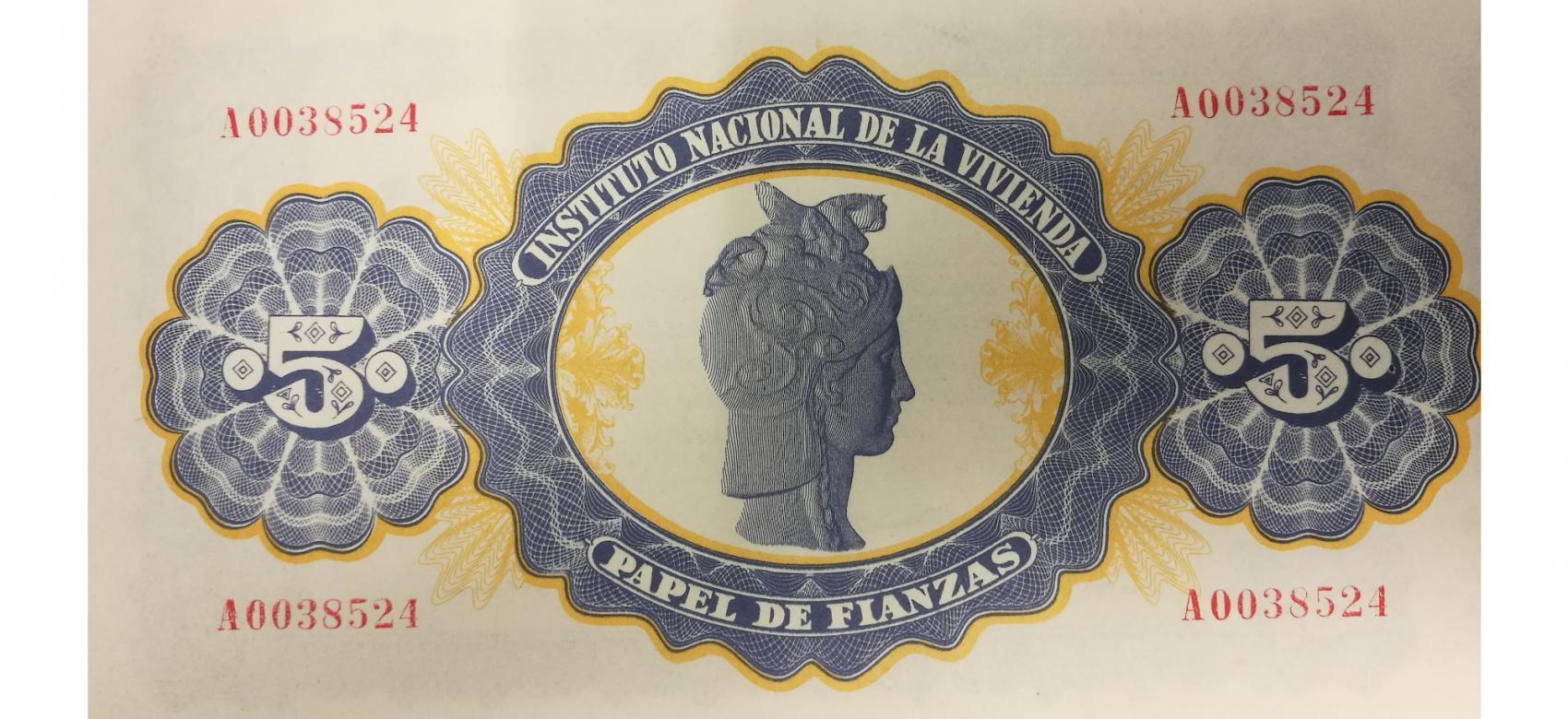 Papel de Fianzas del Estado de 5 pesetas emitidos en 1940