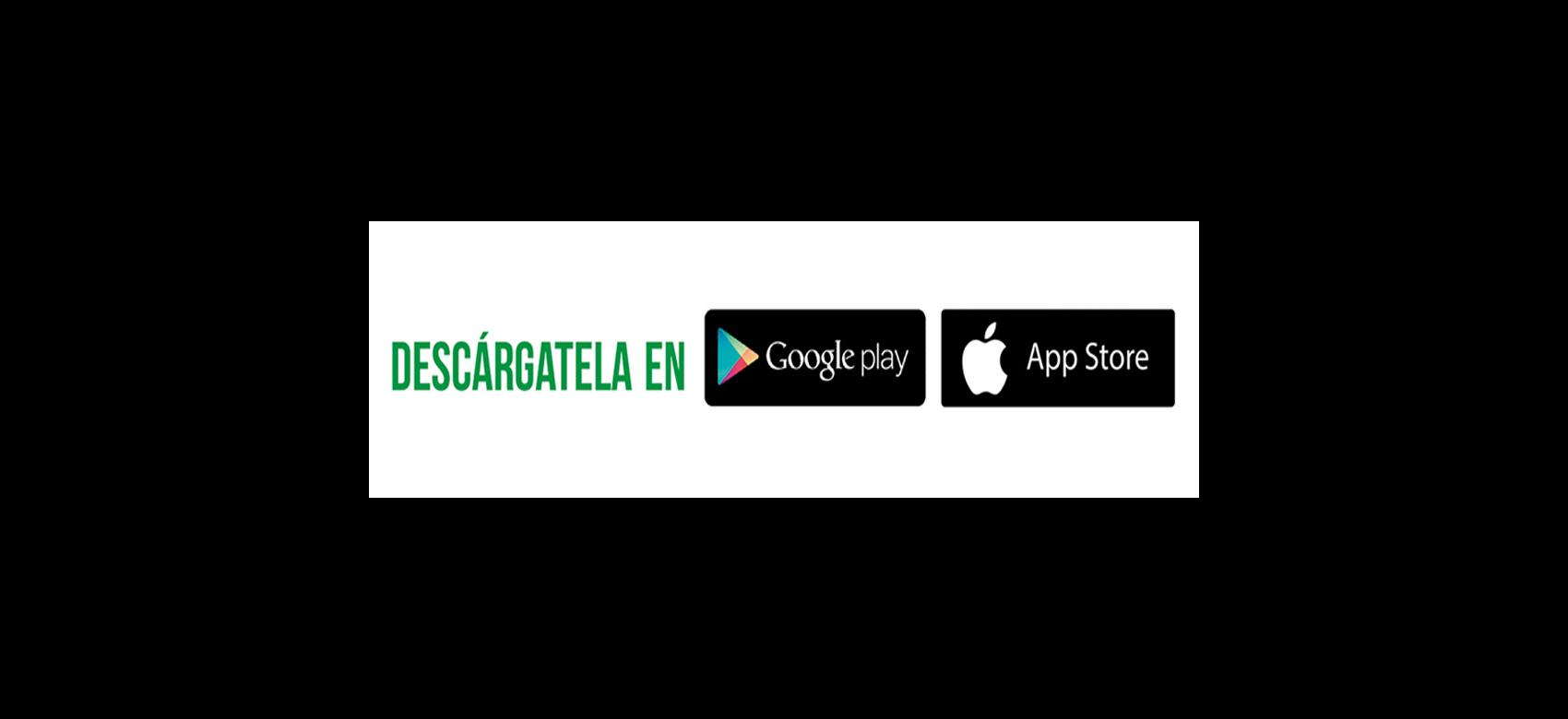 "Texto ""Descárgatela en Google play o Apple Store"""