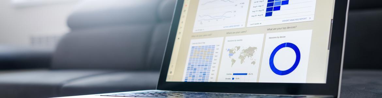 Ordenador con gráficas mapa y sectores