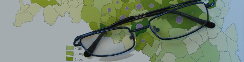 gafas sobre mapa de la comunidad de madrid
