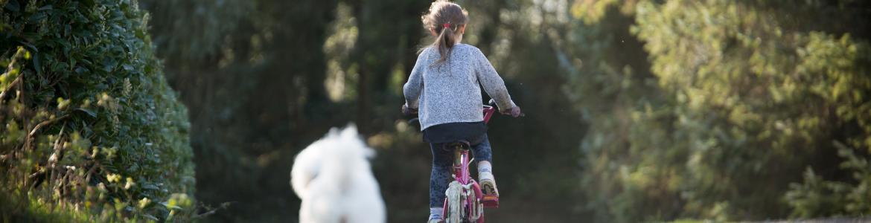 Niña montando en bicicleta alejándose y seguida por un perro