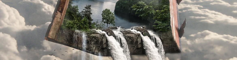 Libro abierto con un paisaje con agua a doble página del que cae agua en forma de cascada