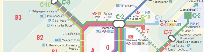 Imagen de detalle de un plano de Cercanías Renfe