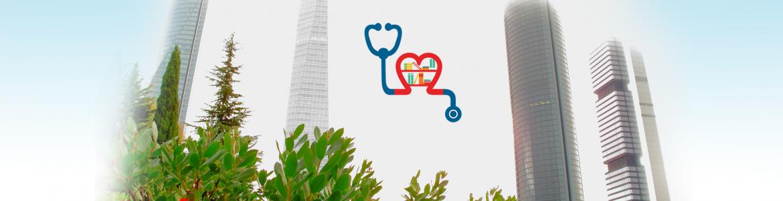 Imagen de las cuatro torres de Madrid con el logo de la Escuela Madrileña de Salud