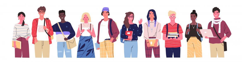 Dibujo grupo jóvenes