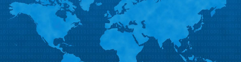 Mapa del mundo en dos tonalidades de azul