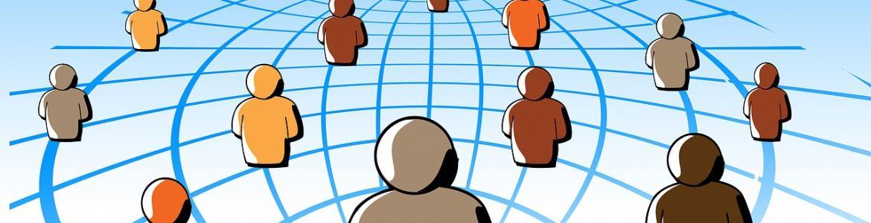 Dibujo de hombrecillos de colores diseminados por una esfera del mundo
