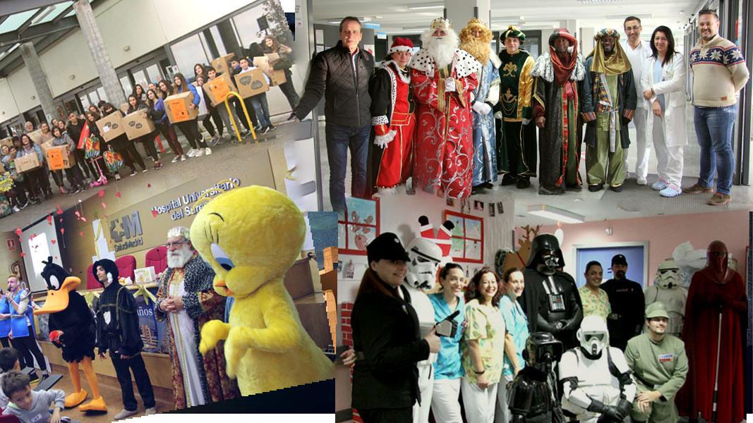Visita solidaria de instituto de Rivas, Rey Melchor, Piolín, el Pato Lucas y la Legión 501