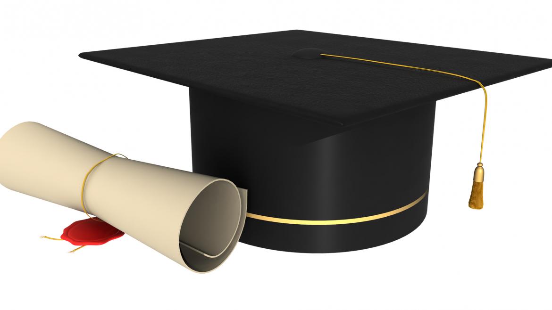Imagen icónica de un diploma y un sombrero con birrete