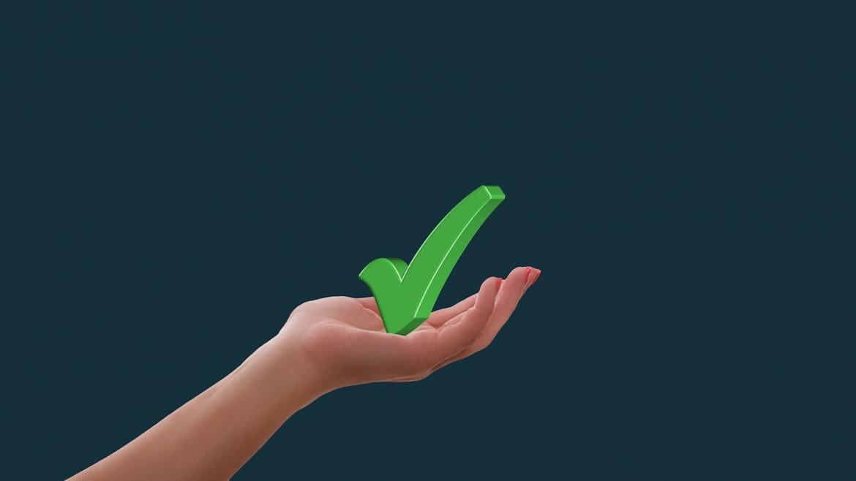 Imagen icónica de una mano sujetando un aprobado en color verde