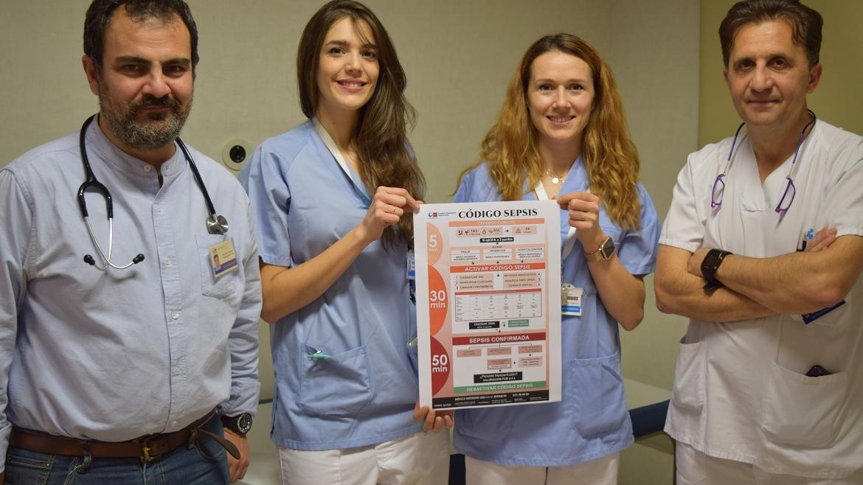 Médicos y enfermeras del Hospital Infanta Sofía con el código Sepsis