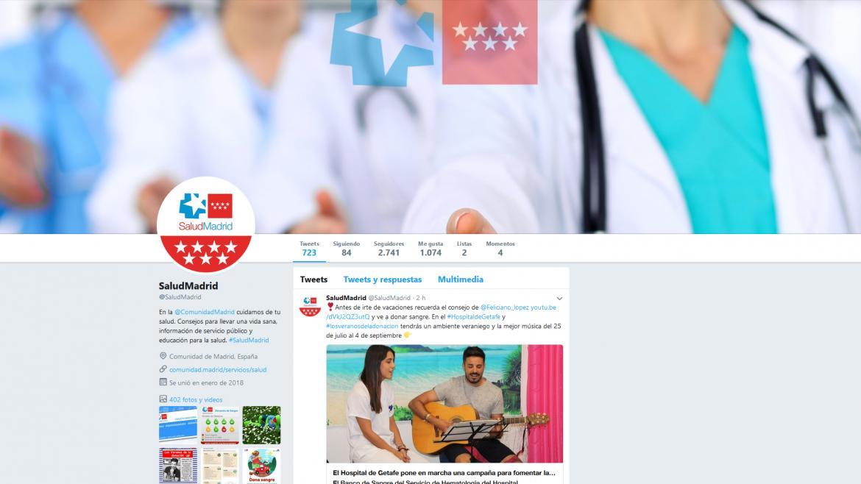 Pantallazo del perfil de Twitter @SaludMadrid