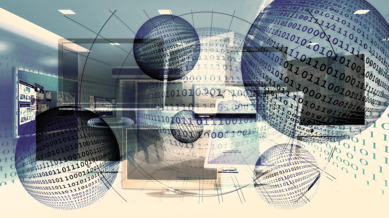 Composición alegórica de la transmisión electrónica de datos binarios
