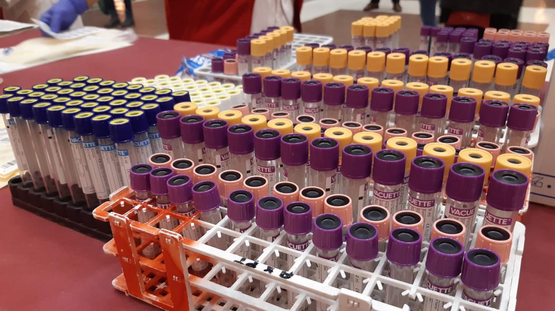 Tubos de sangre de cada donación